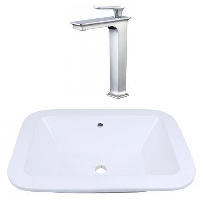 Ceramic Rectangular Bathroom Sink with Faucet and Overflow Installation Type: Drop In