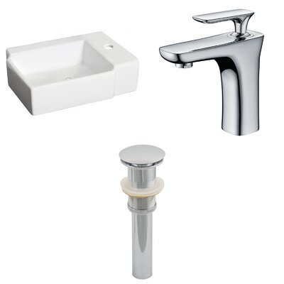 Ceramic Rectangular Bathroom Sink with Faucet Installation Type: Above Counter
