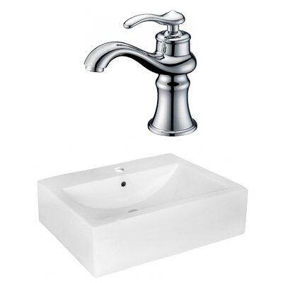 "Ceramic 16"" Wall Mount Bathroom Sink with Faucet and Overflow"