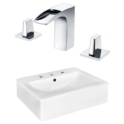 Ceramic Rectangular Bathroom Sink with Faucet and Overflow Installation Type: Wall Mount