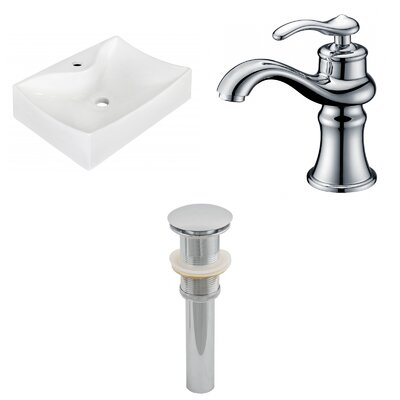 Ceramic 21.5 Wall-Mount Bathroom Sink with Faucet