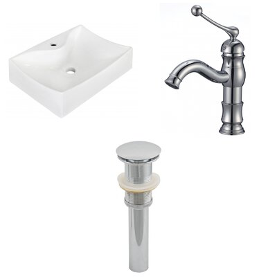 Ceramic 21.5 Bathroom Sink with Faucet Installation Type: Wall Mount Sinks
