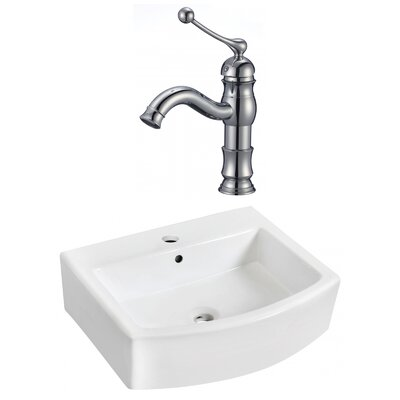 Ceramic 22 Bathroom Sink with Faucet and Overflow Installation Type: Vessel Sinks