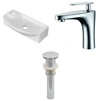 Ceramic U-Shaped Bathroom Sink with Faucet Installation Type: Above Counter