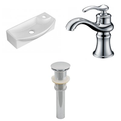 Ceramic 17.75 Bathroom Sink with Faucet Installation Type: Wall Mount Sinks