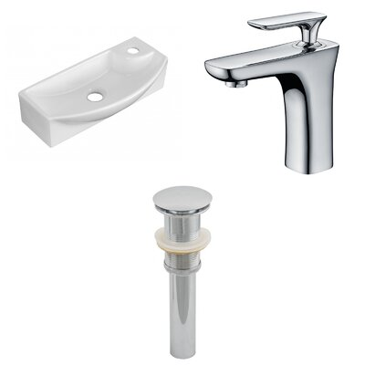 Ceramic U-Shaped Bathroom Sink with Faucet Installation Type: Wall Mount