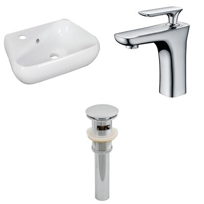 Ceramic 17.5 Bathroom Sink with Faucet and Overflow Installation Type: Vessel Sinks