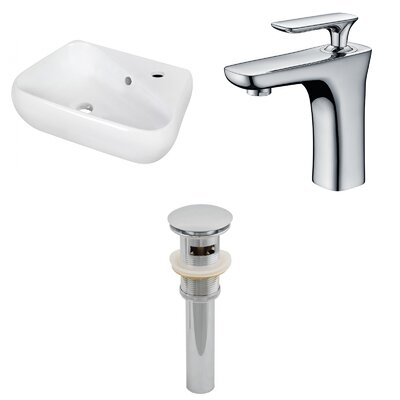 Ceramic 17.5 Bathroom Sink with Faucet and Overflow Installation Type: Wall Mount Sinks