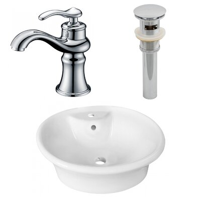 Ceramic Circular Vessel Bathroom Sink with Faucet and Overflow