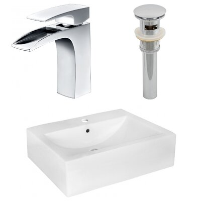 Ceramic 20 Wall-Mount Bathroom Sink with Faucet and Overflow