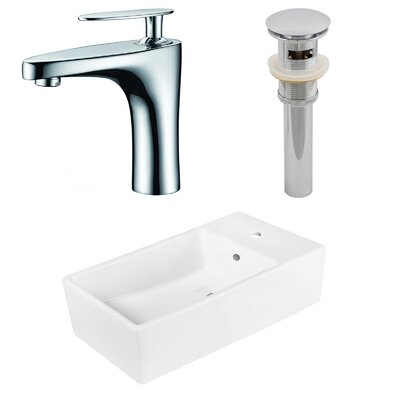 Above Counter Ceramic Circular Undermount Bathroom Sink with Faucet and Overflow
