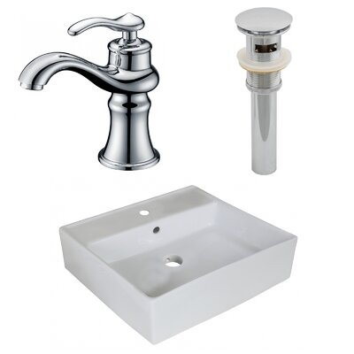 Above Counter Ceramic Square Undermount Bathroom Sink with Faucet and Overflow