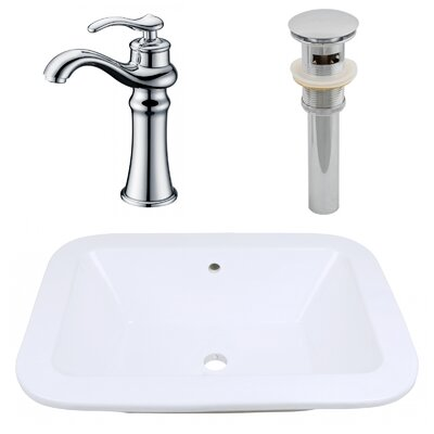 Ceramic Rectangular Bathroom Sink with Faucet and Overflow Installation Type: Drop-In Sinks