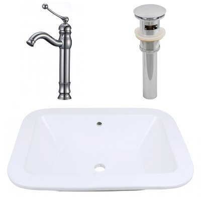 Ceramic Rectangular Bathroom Sink with Faucet and Overflow Installation Type: Undermount