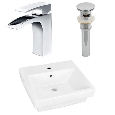 Ceramic Rectangular Drop-In Bathroom Sink with Faucet