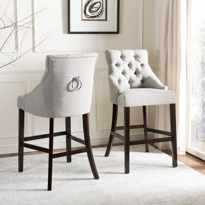 Drishya Tufted Wing Back 45 Bar Stool Upholstery: Light Gray