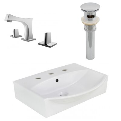 Ceramic 19.5 Wall-Mount Bathroom Sink with Faucet and Overflow