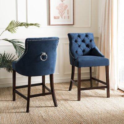 Ayansh 41 Bar Stool Upholstery: Navy/Velvet