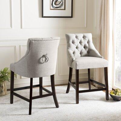 Ayansh 41 Bar Stool Upholstery: Light Gray/Linen