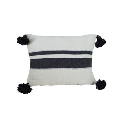 Delaine Pom Pom 100% Cotton Throw Pillow Color: Black/White