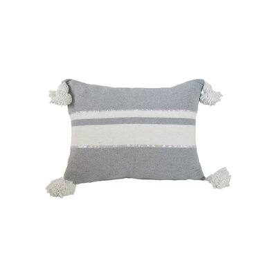 Delaine Pom Pom 100% Cotton Throw Pillow Color: Gray/White