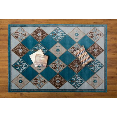 Jarnigan Geometric Blue Area Rug Rug Size: Rectangle 53 x 76