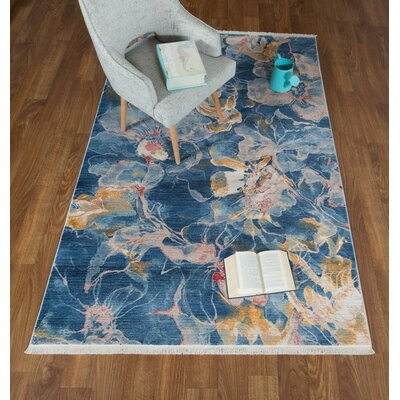 Salena Floral Navy Area Rug Rug Size: Rectangle 5 x 78