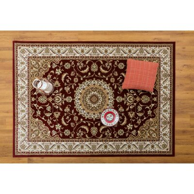 Caledonian Red/Cream Area Rug Rug Size: Rectangle 53 x 76