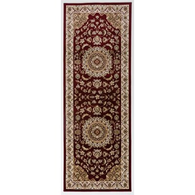 Caledonian Red/Cream Area Rug Rug Size: Runner 27 x 76
