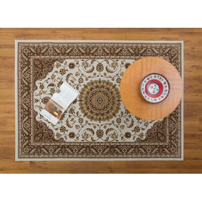 Caledonian Cream/Beige Area Rug Rug Size: Rectangle 53 x 76