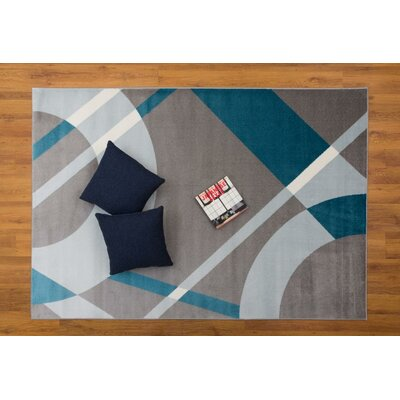Cypress Abstract Gray/Blue Area Rug Rug Size: Rectangle 53 x 76