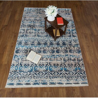 Claretta Floral Blue Area Rug Rug Size: Rectangle 5 x 78