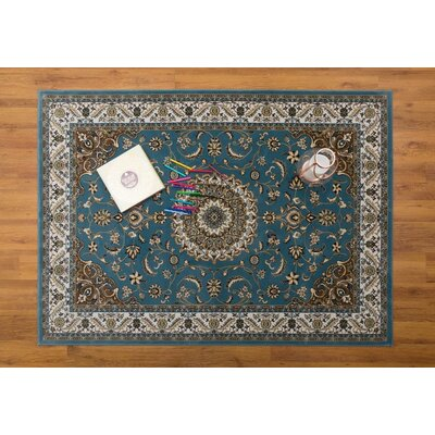Caledonian Blue/Beige Area Rug Rug Size: Rectangle 53 x 76