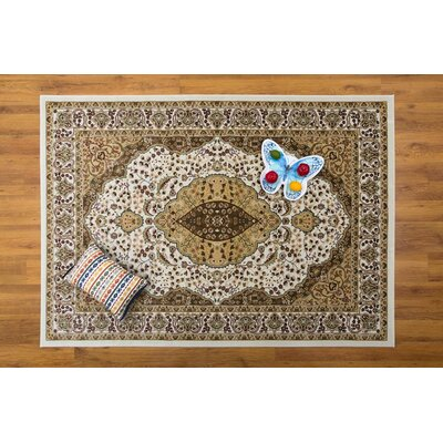 Caledonian Cream/Green Area Rug Rug Size: Rectangle 53 x 76