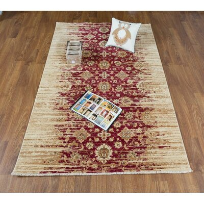 Serafina Gold/Red Area Rug Rug Size: Rectangle 8 x 10
