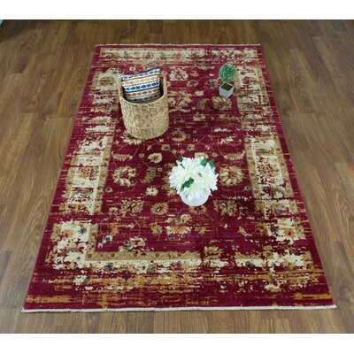 Dundonald Red/Ivory Area Rug Rug Size: Rectangle 5 x 8