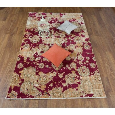Serina Floral Red/Ivory Area Rug Rug Size: Rectangle 5 x 8