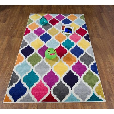 Nancee Rainbow Diamond Trellis Blue/Pink Area Rug Rug Size: Rectangle 8 x 10