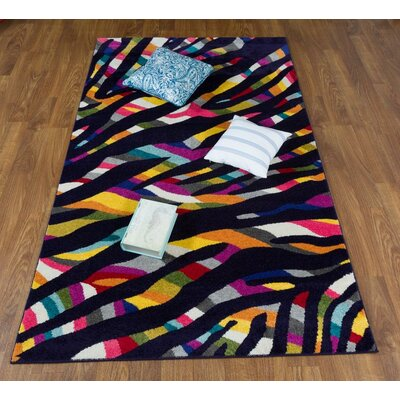 Wason Rainbow Black/Pink Area Rug Rug Size: Rectangle 5 x 8