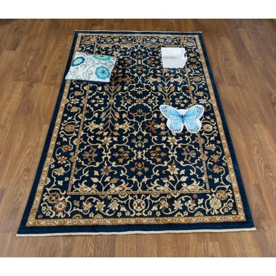 Dundermot Oriental Navy/Ivory Area Rug Rug Size: Rectangle 5 x 8