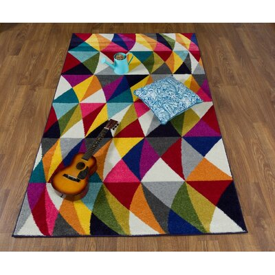 Nancee Rainbow Harmony Black/Orange Area Rug Rug Size: Rectangle 5 x 8