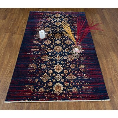 Serafina Oriental Blue/Ivory Area Rug Rug Size: Rectangle 5 x 8