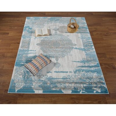 Senaida Cream/Blue Area Rug Rug Size: Rectangle 710 x 10