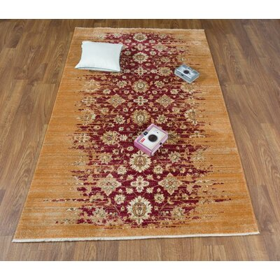 Serafina Red/Brown Area Rug Rug Size: Rectangle 5 x 8