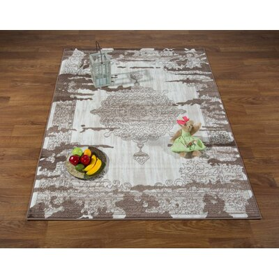 Senaida Cream/Brown Area Rug Rug Size: Rectangle 5'3