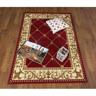Jasonville Oriental Red/Beige Area Rug Rug Size: Rectangle 5 x 7