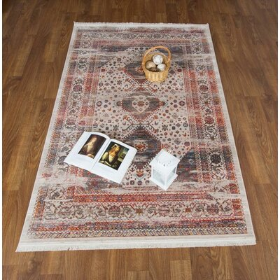 Aganlane Bone/Pink Area Rug Rug Size: Rectangle 5 x 78