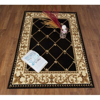 Jasonville Oriental Black/Beige Area Rug Rug Size: Rectangle 5 x 7