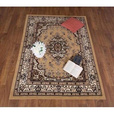 Dunlin Oriental Beige/Black Area Rug Rug Size: Rectangle 8 x 10