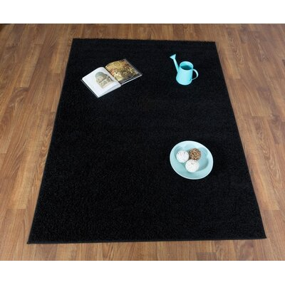 Washington Mews Shag Solid Black Area Rug